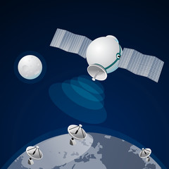 Satellite at the Earth orbit connection And communications