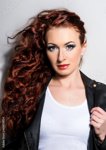 canvas print picture Red Hair. Beautiful Woman with Curly Long Hair