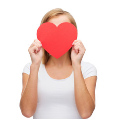 woman in white t-shirt with heart