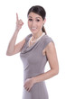 Junge Business Frau isoliert auf Weiß mit erhobenem Zeigefinger