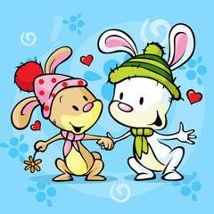 cute bunny in love on winter abstract background
