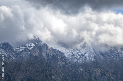 clouds over mountain peaks