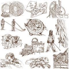 Traveling series: SWITZERLAND (no.1) - hand drawings on white