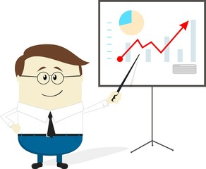 businessman presentation cartoon
