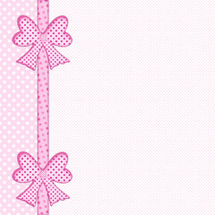 Baby pink polka dot background with gift bows and ribbon border