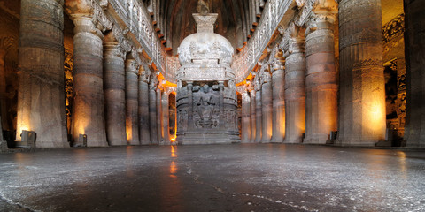 View inside of ancient Buddhist rock temple in Ajanta