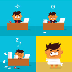 Illustration of the office workers who weariness crazy