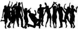 Fototapety Vector silhouettes of dancing people.