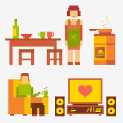 pixel illustration people in the kitchen and living room