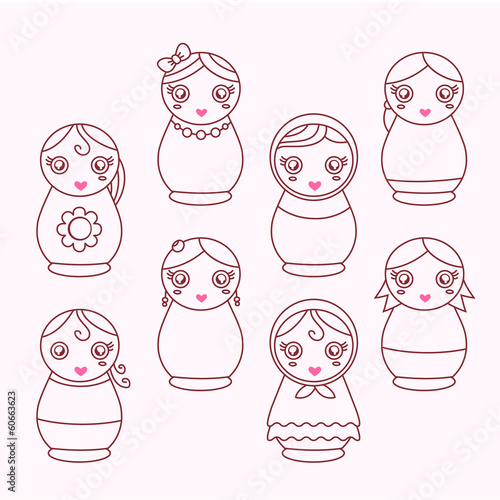 set of modern icons doll matryoshka  line art