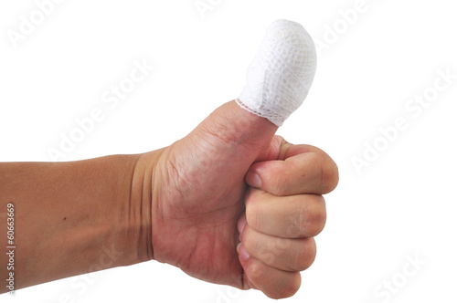 Man thumb bandage from accident