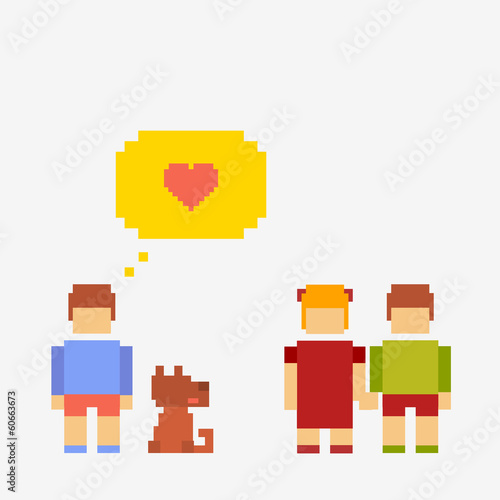 Pixel illustration children communicate