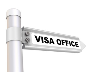 VISA OFFICE. Road sign