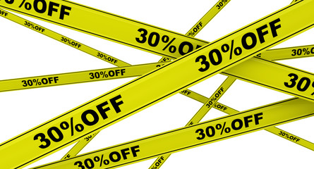 Yellow ribbons with the inscription 30%OFF
