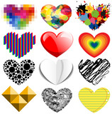 Set of twelve vector colorful and special hearts