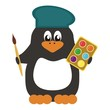 nice penguin with paints