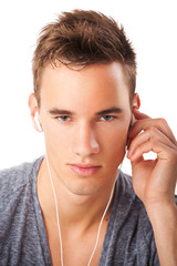 Male beauty with headphones