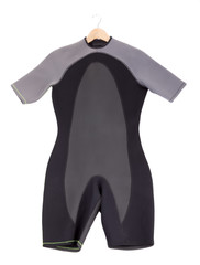 Wetsuit for surfing. On a white background.