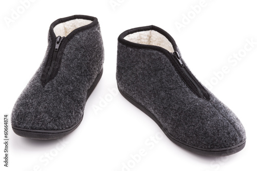 Slippers warm fur. On a white background.
