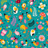 cute characters nature pattern - 60665068