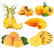 Yellow exotic fruits isolated on white