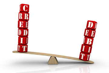CREDIT or DEBIT. Words on the scales