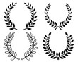 Black silhouettes of laurel wreaths, vector illustration