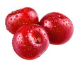 Three sour cherries with drops on white background