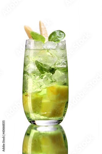 Mojito drink cocktail with ice