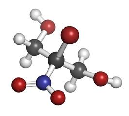 Bronopol preservative molecule. Possibly carcinogenic.