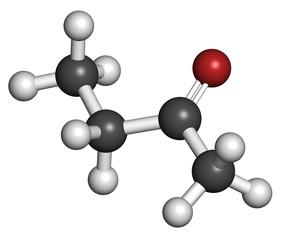 Butanone (methyl ethyl ketone, MEK) industrial solvent.