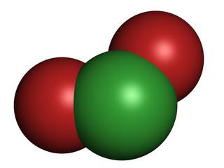 Chlorine dioxide (ClO2) molecule. Used in pulp bleaching.