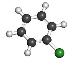 Chlorobenzene industrial solvent molecule.