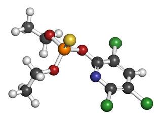 Chlorpyrifos organophosphate pesticide molecule.