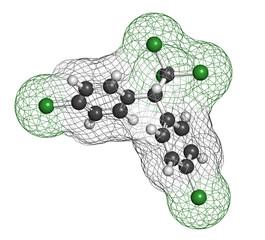 DDT (dichlorodiphenyltrichloroethane) molecule.