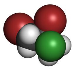 Dibromochloropropane (DBCP) soil fumigant molecule.