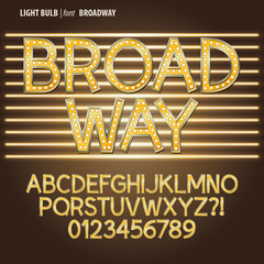 Golden Broadway Light Bulb Alpahbet and Digit Vector