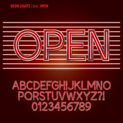 Red Neon Lights Alpahbet and Digit Vector