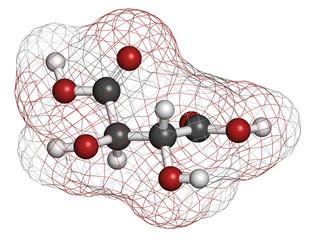 Tartaric acid (dextrotartaric acid) molecule.