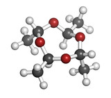 Metaldehyde pesticide molecule. Used against slugs and snails.