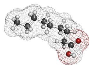 Nonanoic acid (pelargonic acid) molecule.