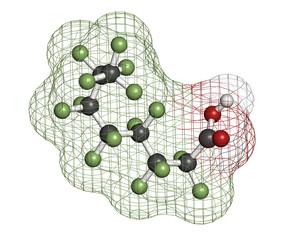 Perfluorooctanoic acid (PFOA, C8) molecule.