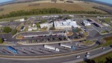 Aerial footage of a highway truck stop