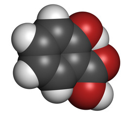 Salicylic acid molecule. Used in cosmetics.