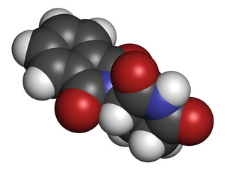 Thalidomide theratogenic drug molecule.