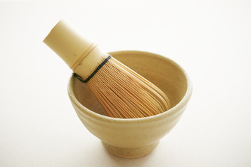 Bamboo tea whisk, close up, white background