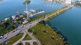 Aerial footage of North Bay village Miami