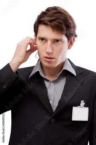 Sales representative with ID to put your text there