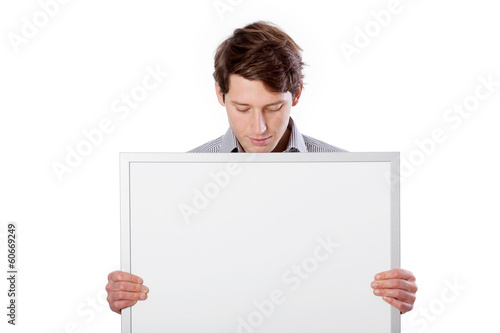 Man with white board to put yout text here
