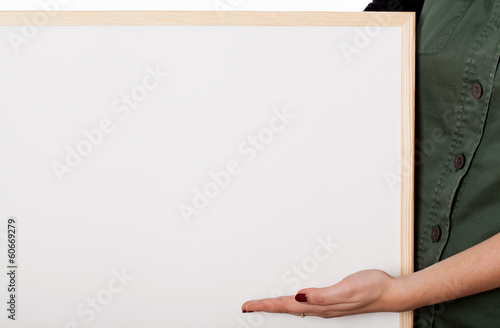 Woman with white board - your text here